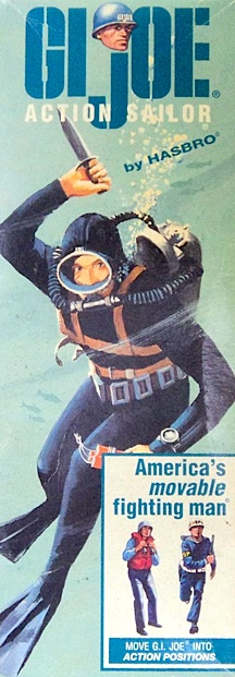 """The artwork on GIjOE's """"Action Sailor"""" box featured artwork of a WWII Navy UDT diver, very similar in appearance to John Spence and other US Navy """"Frogmen,"""" armed only with a Ka-Bar knife and a pack of explosives. (Photo: Heritage Auctions)"""