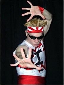 """A Japanese Manga influence was clearly evident in the design of Stork's """"Super Impact Man"""" costume, right down to its distinctive """"rising sun"""" headband. (Photo: John Stork)"""