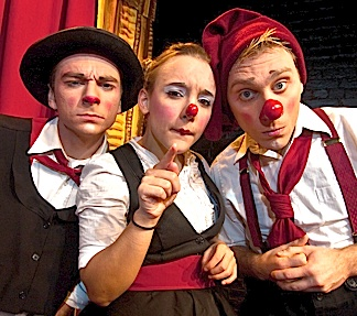 """When not busking, Stork appears with the juggling and circus comedy act know as """"The Piccoali Trio,"""" along with bob smilh (l) and joy som (c). (Photo: The Pic trio)"""