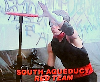 Stork donned goggles, a helmet, and elbow pads before holding his breath as he attempts to reach the shut-off valve during the first major challenge. (Photo: Syfy)