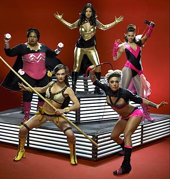 """While even mentioning """"merchandising"""" could get you booted from the show (just ask """"Levity,"""" who was axed before even entering the lair). the potential for POST-show products is HUGE. Clearly, each of these ladies from Season 1 would've made GREAT action figures for fans and collectors of superheroes. Unfortunately, Stan Lee and Syfy chose not to pursue such lucrative ideas. (Photo: Syfy)"""