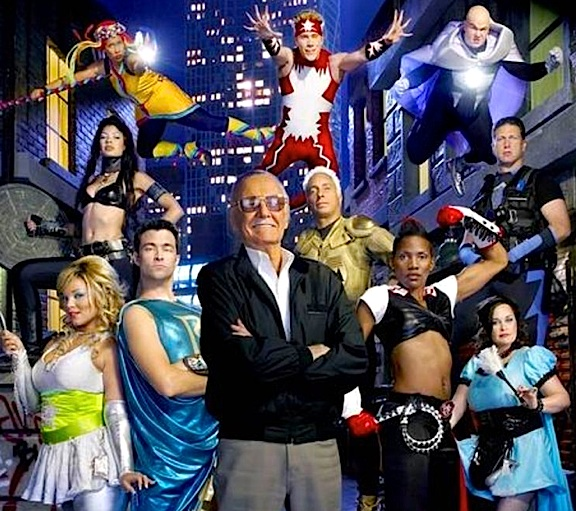 "In this promo photo, Stan Lee (center) poses with the contestants from the second season of his ""Who Wants to be a Superhero?"" competition reality show. (Photo: Syfy)"
