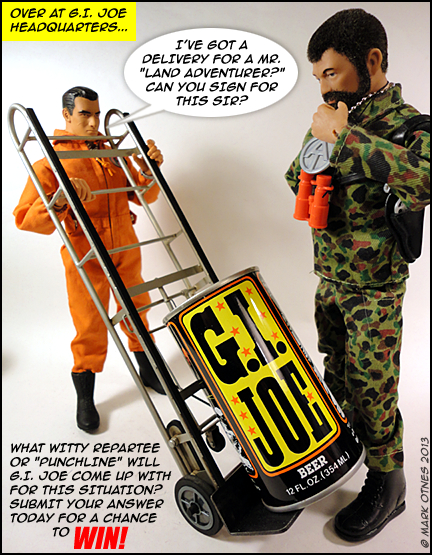 "The first panel of Patches of Pride's ""Christmas Caption Contest"" features a (giant?) can of the very same ""GIjOE Beer"" that was recently discussed here on The Joe Report. (Photo: Patches of Pride)"