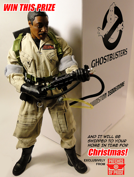 "This photo from the Patches of Pride website reveals the prize for their ""Christmas Caption Contest"" is a brand-new ""Winston Zeddemore"" action figure from the highly-prized ""Ghostbusters"" line of Adult Collectibles from Mattel. We've seen these figures up close. They are GREAT. (Photo: Patches of Pride)"