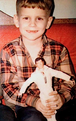 A young Charles Bury holds up his new GIjOE Talking Astronaut proudly in this photo taken in 1969. (Photo: Charles Bury)