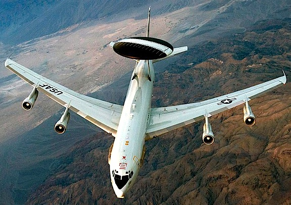 "This Boeing E-3 Sentry has been equipped with the massive rotating       provides a quiet ""eye in the sky"" for forces in the sky and on the ground."