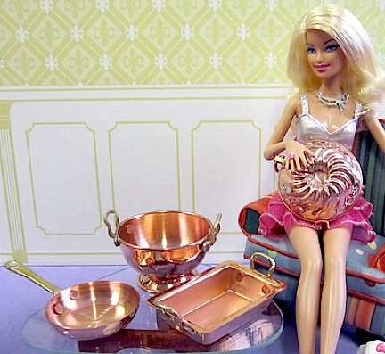 """What are you getting YOUR 1:6 """"hotties"""" for Christmas this year? It's a no-brainer that she'd love all four of these superb copper ornaments, including a skillet, collander, baking pan and jell-o mold. Out-STANDING quality! (Photo: Queli)"""