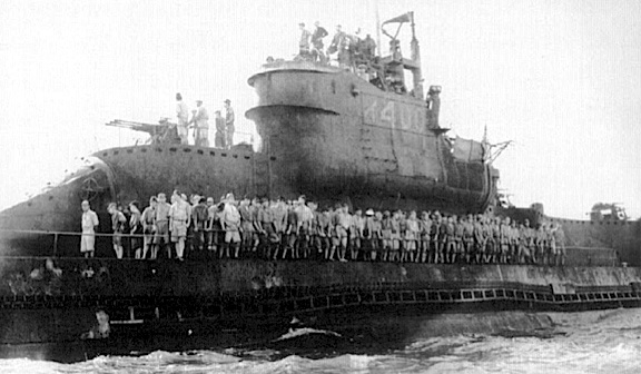 "This WWII photo showing the sub's crew massed up on deck, provides an even better idea just how BIG these Japanese ""Super Subs"" really were. (Photo: Rtas Vaduum)"