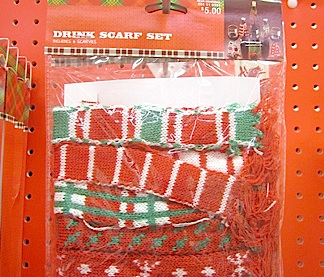 """A closeup of Target's new """"Drink Scarf Set"""" containing 6 holiday-patterned 1:6 scale scarves, perfect for GIJOE, Action Man and yes, Barbie! (Photo: Queli)"""