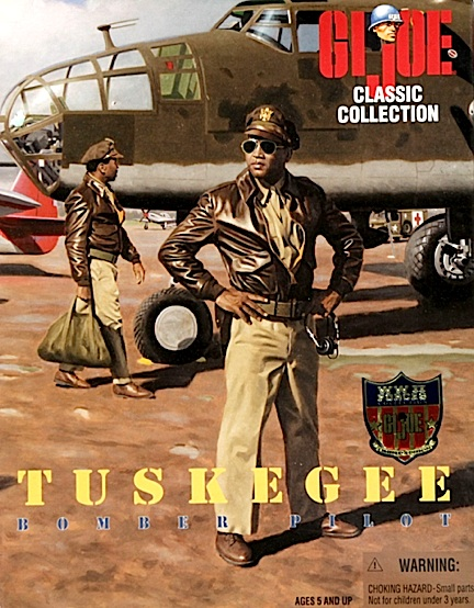 "During WWII, Booker appeared much like the men depicted in what is arguably one of the best paintings ever created of African-American bomber crewmen; the extraordinary packaging artwork created by artist Larry Selman for a pair of ""Tuskegee Airman"" GIjOE action figures. Simply out-STANDING! (Artwork: Larry Selman)"
