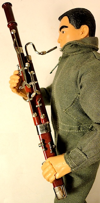 You couldn't get any more ON SCALE  than this superb 1:6 scale bassoon. Absolutely PERFECT in terms of detail, quality and size. Currently $12.50 in most musical instrument stores. (Photo: Mark Otnes)