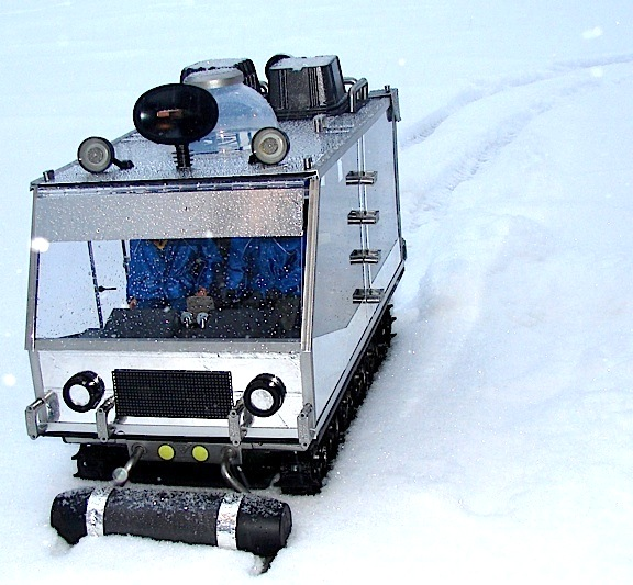 "Here it comes! Customizer Gary Stair's ""Space Chariot"" plows relentlessly through the arctic snow in search of another adventure. VRROOM!!! (Photo: Gary Stair)"