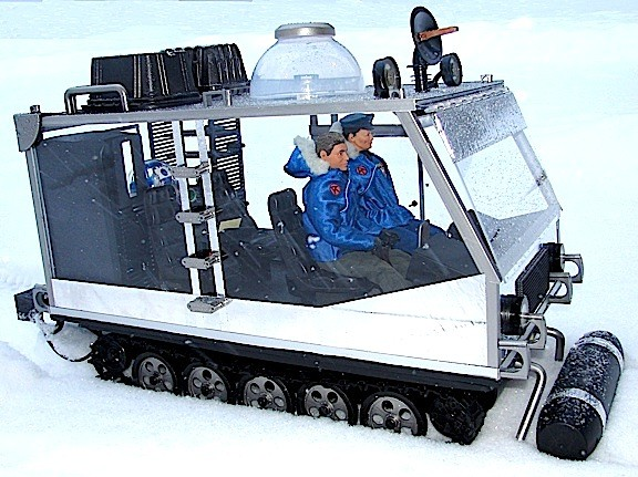 "Gary Stair's custom 1:6 scale ""Space Chariot"" ATV provides a sweet ride through the arctic snow for Captain Action and his second-in-command, Major Stair. (Photo: Gary Stair)"