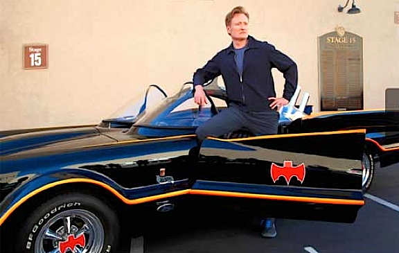 "Conan O'Brien poses with one of the Batmobile copies before sending his ""tweet"" announcing Warner Brother's intent to officially release of the 1966 Batman TV series on DVD in 2014. (Photo: Conan O'Brien)"