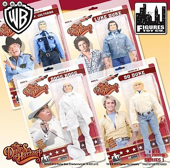 "These 12-inch ""Dukes of Hazzard"" figures will just FLY off the shelves. And again, FTC's inspired use of easy-open, easy-close ""clamshell"" packaging means after you've played with 'em, you can put 'em back inside and display 'em, just like that! (Photo: FTC)"