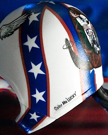 The helmet for Evel's blue uniformed version features different graphics correct for that time in his career. (Photo: FTC)