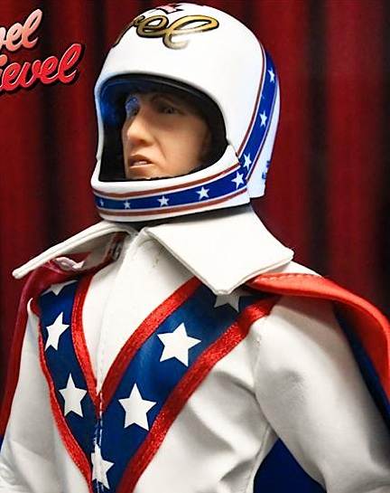 "In this closeup, everything looks great. But Evel's ""weak link"" is his so-so, open-mouthed headsculpt. It's just not that well done. However, when he's wearing his helmet, you don't really notice. Many collectors would probably want to swap out his head and body anyway, because it's really Evel's great costume that ""sells"" this figure. (Photo: FTC)"