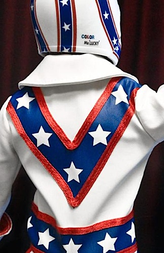 "In this rear-view of FTC's new 1:6 scale Evel Knievel action figure, you can see how well put together the costume is. Remember his jumsuit's big ""Elvis"" collar? Absolutely perfect! (Photo: FTC)"