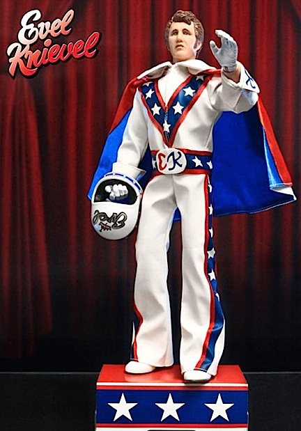 "Out of its package, FTC's 12-inch Evel Knievel figure stands tall and proud, ready for his next breath-taking daredevil motorcycle jump. Each figure comes with a cardboard display ""stand"" as well. (Photo: FTC)"