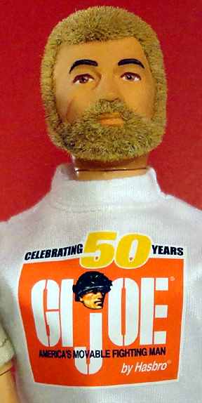 "In lieu of Hasbro's lack of 50th products and obvious corporate indifference, numerous ""unofficial"" items have begun to circulate among fans in celebration GIjOE's 50th Anniversary. For example, copies of this superbly made commemorative t-shirt are currently being given away for FREE to the lucky winners of Patches of Pride's ""Operation: Joe Karma 2014″ prize giveaway. (Photo: Mark Otnes)"