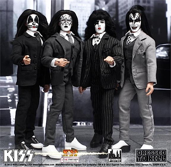 "FTC's superb new line of 12-inch ""Dressed to Kill"" KISS action figures. Fans of the band's famous original foursome AND collectors of VERY special 1:6 scale action figures will all be pleased.  These are some sharp-dressed hard rockers. Absolutely out-STANDING set! (Photo: FTC)"