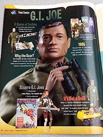 "Clearly, GIjOE still has plenty of fans at ""Boy's Life"" magazine! This page is just part of some great coverage he recently received in the February 2014 issue. Out-STANDING! (Photo: Carin Reddig)"