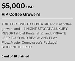 "As this screenshot shows, some of the pricier incentives were downright weird. Anyone with any knowledge of the high cost of travel for a ""4-night stay at a luxury resort"" can compute that once this trip is fully paid for, there would be little left of the original contribution to apply toward's the company. Whatever the numerical realities, it's obvious why backers were hesitant to contribute. But oh, look at that...""Shipping is FREE!"" (Huh?) (Graphic: GCC)"