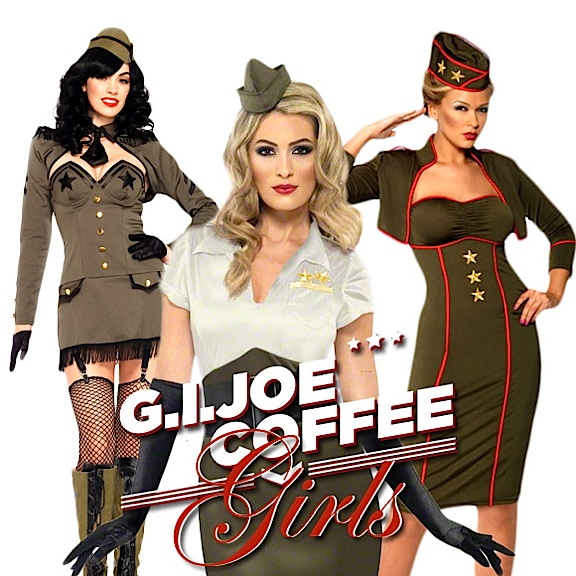 "Talk about ""mixed messages;"" for some reason, the GIjOE Coffee Company felt ""autographed photos"" of unknown models in sexy costumes was an appropriate inducement for a recent fundraising effort. For a business that is purported to exist to help disabled veterans, the offers of clothing, sexy posters, and vacations surely confuses many. (Photo: GIjOE Coffee Company)"