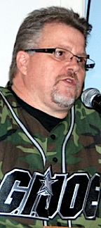 "The sincerity and detmination ""not to forget"" GIjOE's 50th Anniversary is written all over Tearle Ashby's face, as he speaks at a recent gathering in New York to discuss the impact GIjOE has had on his life, and that of millions of other fans around the world. (Photo: Col. Richard Goldenberg / Joint H)"