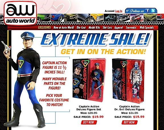 "A recent press release from Auto World touts their current ""Extreme Sale"" on all things Captain Action. (Photo: Auto World)"