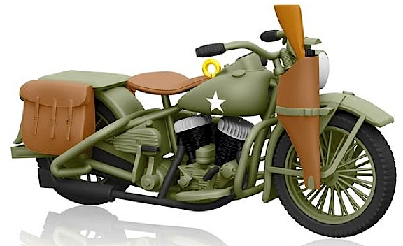 "This 1942 Harley-Davidson ""Liberator"" motorcycle would look AMAZING as a background (tabletop) model in any 1:6 scale diorama. It die-cast metal with wheels that turn, and measures 2""h x 4""l. Out-STANDING! (Photo: Hallmark)"
