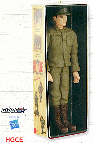 """This closeup of the upcoming (limited-edition) """"50th Anniversary GIjOE"""" keepsake ornament by Hallmark measures approximately 4.5""""h. We assume the Action Soldier box graphics continue all the way around. FANTASTIC! (Photo: Hallmark)"""