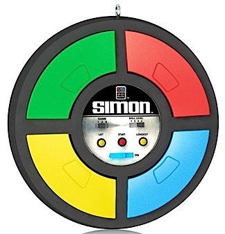 "Measuring almost 3"" in diameter, this light-n-sound mini ""Simon"" game would look great sitting on a 1:6 scale table between two Joes. FUN! (Photo: Hallmark)"