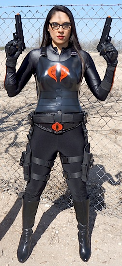 "Actress/model, Veronica Orosco, strikes a pose as ""The Baroness"" in her cosplayer costume. Orosco and other beautiful ""femme fatales"" will soon grace the pages of a new 2015 GIjOE/Cobra cosplay calendar, proceeds of which will go to benefit the ""Wounded Warriors Project."" (Photo: Veronica Orosco)"