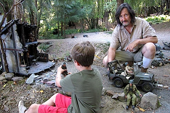 "Tom Razooly enjoys playing with his GIjOEs in his idyllically forested ""Joe Land"" at his home in (Photo: Tom Razooly)"