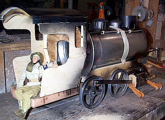 "This early production shot reveals the various ""found"" bits and pieces that Tom combined to create his outstanding 1:6 scale locomotive. Absolutely ingenious work! (Photo: Tom Razooly)"