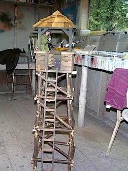 Tom had to back WAY up in his workshop to get the entire 1:6 scale guard tower in the frame of his camera. WOW! (Photo: Tom Razooly)