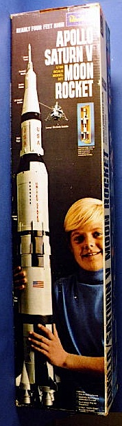 "A young Tom Razooly posed for this ""Apollo Moon Rocket"" model kit by Revell in 1969. (Photo: scalemates)"