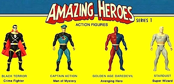 "The fate of these four proposed ""Amazing Heroes"" action figures (including Captain Action) rests entirely on the results of a July 2014 Kickstarter campaign and customer pre-orders received by the Big Bad Toy Store website. Will these heroes make it to production? (Photo: FMF)"