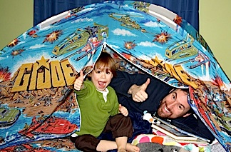 "What better way to send a young Joe fan off to dreamland than in his own RAH GIjOE ""bed tent?"" Go, JOE! (Photo: Monk)"