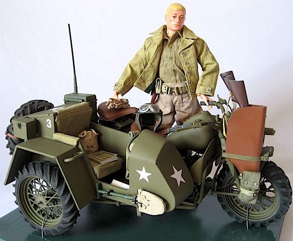 Robert Jason's custom 1:6 scale 1942 Harley-Davidson prototype NAME XS motorcyle and rider, fully finished and detailed with custom sidecar, tires and much more. AMAZING! (Photo: