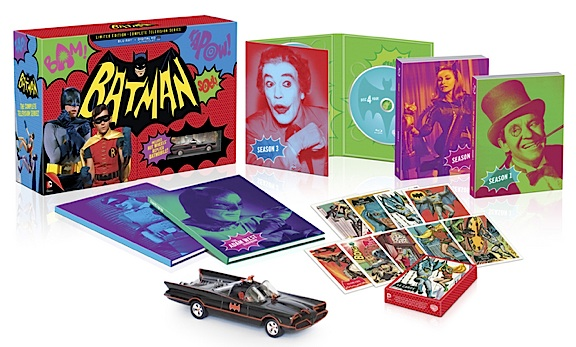 Besides the discs, you receive some killer packaging, booklets, trading cards and a little replica Batmobile. The price is steep, but look for it to go down soon and shop around for the best deal. Go, Batman! (Photo: Warner Bros)