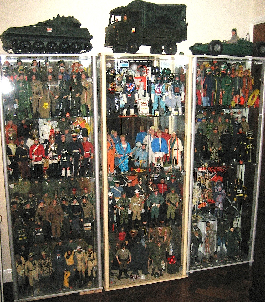 ... And Protected Within Superb Display Cabinets From ARGOS (in The UK).  The Cabinets Have Glass Doors Which Open Easily And Keep Everything Dust  Free.
