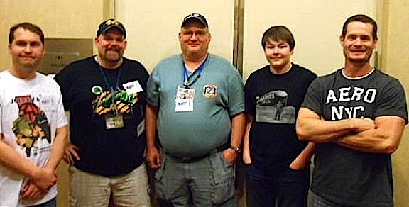Besides his obvious high accumen as a carpenter, Rowland also proved himself to be extremely knowlegable about his other passion—GIjOE—by winning the always ardous GIjOE Trivia Contest at Joelanta 2014. Here is poses with fellow contest winners,