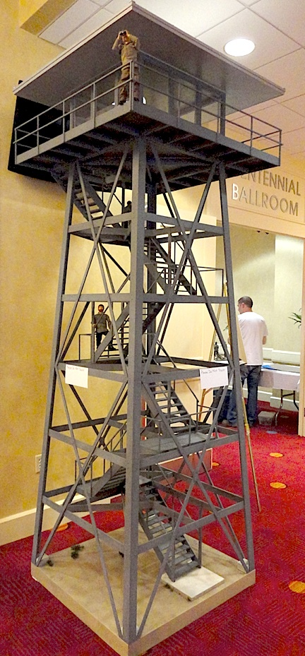 Chris Rowland's unbelievable 1:6 scale fire tower (well, half of it anyway) dominates the entryway to Joelanta 2013. If you look carefully, you can see a few 12-inch GIjOEs placed on the tower for a sense of size and scale. OutSTANDING! (Photo: Mark Otnes)