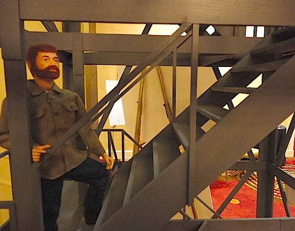 "Getting His Exercise—Joe begins his 170-step climb to the top of Chris Rowland's 1:6 scale fire tower, aka the world's best 1:6 scale ""Stair-Master!"" (Photo: Mark Otnes)"