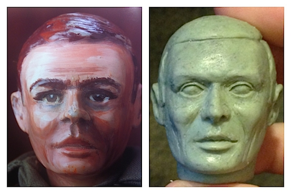 "Andrew Covalt's first, rough sculpt of ""Rocky"" (r) in comparison to the original (l). (Photo: Bill Lawrence)"