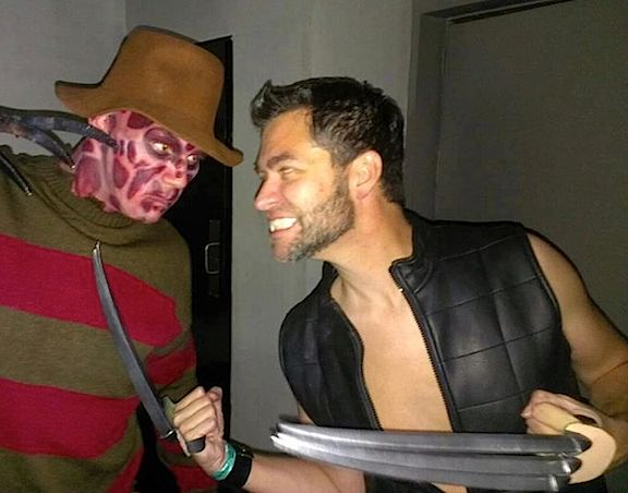 "Dan's love of superheroes and costumes blend together perfectly in his regular participation in cosplay, or ""costumed play."" Here, he portrays the Wolverine in a deadly ""blade battle"" with a fan portraying ""Nightmare on Elm Street"" killer, Freddy Krueger. Yikes! (Photo: Dan Williams)"