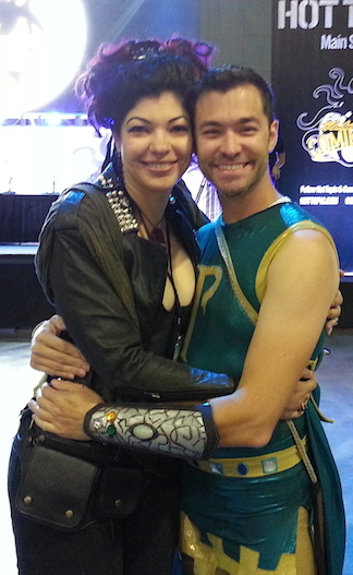 Superhero Snug! Since meeting on the show, the friendship of many of the contestants remains undeniable. Here, Aja DeCoudreaux and Williams share a hug after appearing together at Comikaze 2013. (Photo: Melody Mooney)