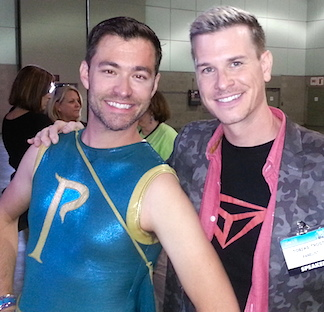 Even after 7 years, the costume created for Williams by the show's costume department still fits! Here, Williams poses with 1st Season contestant Tobias Troust at Comikaze 2013. (Photo: Melody Mooney)